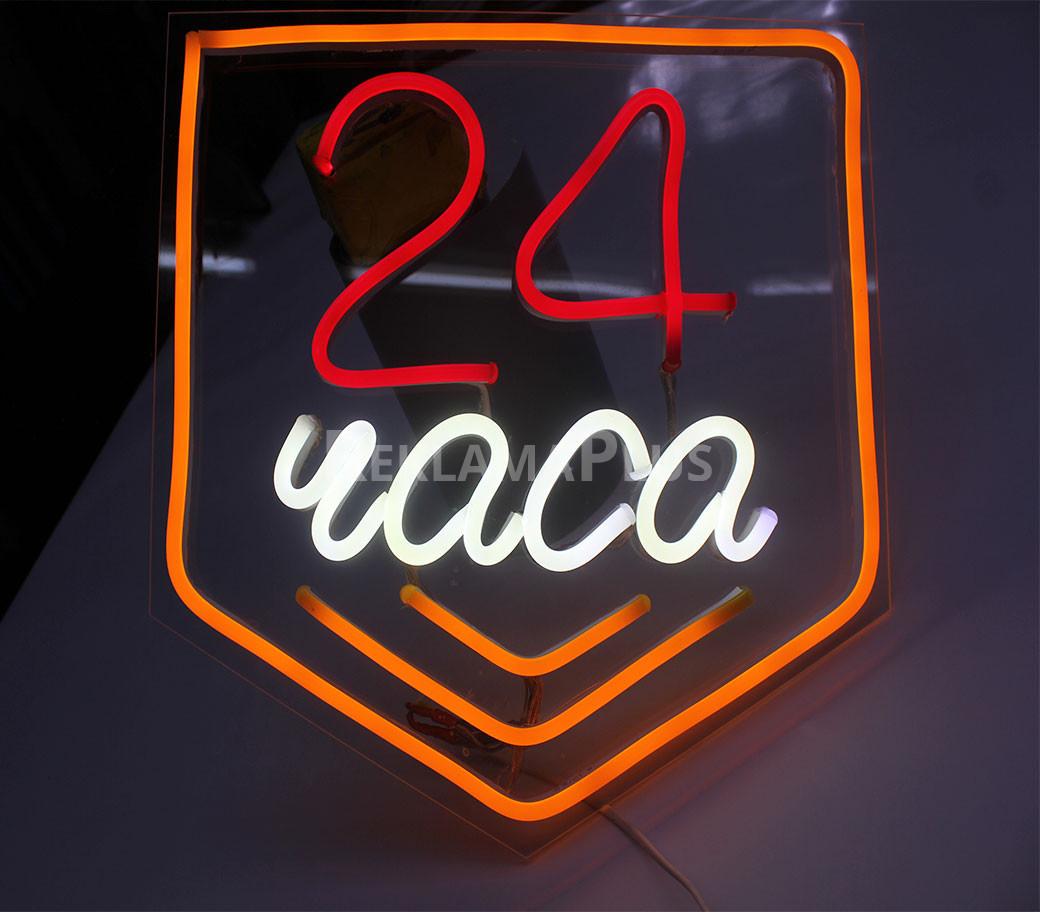 Неоновая табличка 24 часа